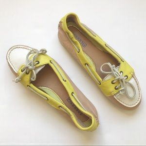 Sperry Top-Sider Audrey Yellow Tan Boat Shoes Sz 7